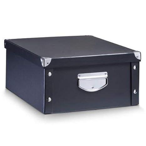 Zeller 17928 Caja de almacenaje de cartón Negro (Schwarz) 40 x 33 x 17 cm: Amazon.es: Hogar