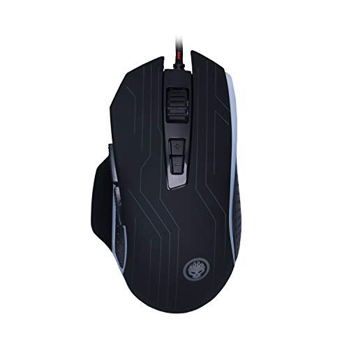 GIOCHIS'E VON-X Pro RGB -FPS Optical Wired Gaming Mouse with 4 Gear DIP Switches [Max 4200] Ergonomic Design- 7 Buttons - Auto Double Hit Key - Black