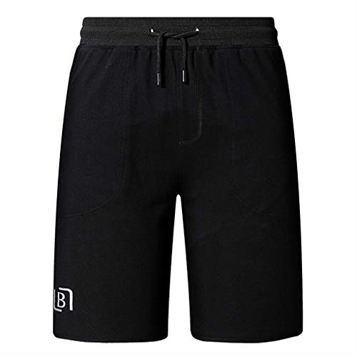 TIFENNY Fashion Plain Color Short Shorts Summer Men's Casual Sports Shorts Fashion Soft Comfort Home Pants Black