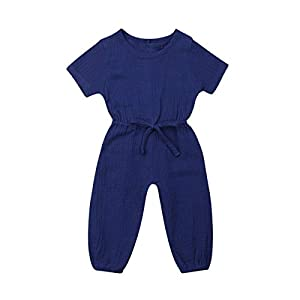 Mubineo Toddler Baby Girl Summer Fall Basic Plain Short Sleeve Cotton Linen Drawstring Romper Jumpsuit
