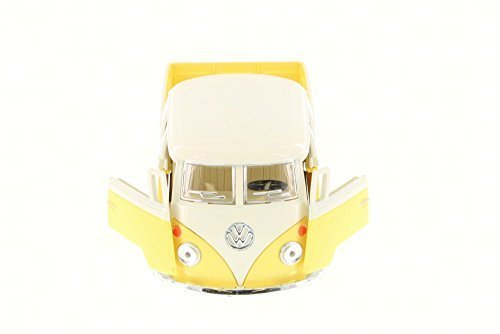 Kinsmart 1963 Volkswagen Classical Bus Double Cab Pick Up, Yellow 5387DY - 1/34 Scale Diecast Model Toy Car