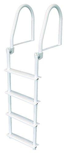 4 Step Flip Up Dock Ladder, White Galv - Jif Marine