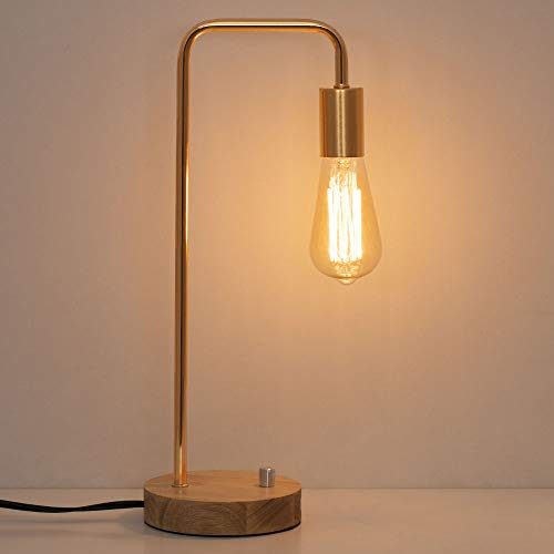 HAITRAL Industrial Desk Lamp - Stylish Wooden Table Lamp with Gold Frame Simple Nightstand Task Lamps for Bedrooms, Office - Without Bulbs (HT-TH71-16)