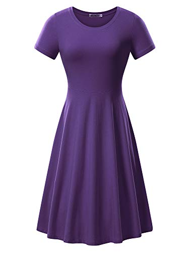 HUHOT Dark Purple Dresses, Womens Fall Casual T-Shirt Midi Cotton Dress(Purple,Small)