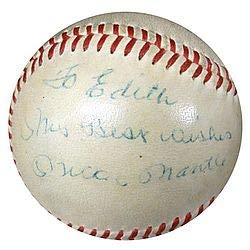 - Mickey Mantle Signed American League Baseball New York Yankees To Edith My Best Wishes Vintage Signature Signed in 1950's - PSA/DNA Authentication - Autographed MLB Baseballs