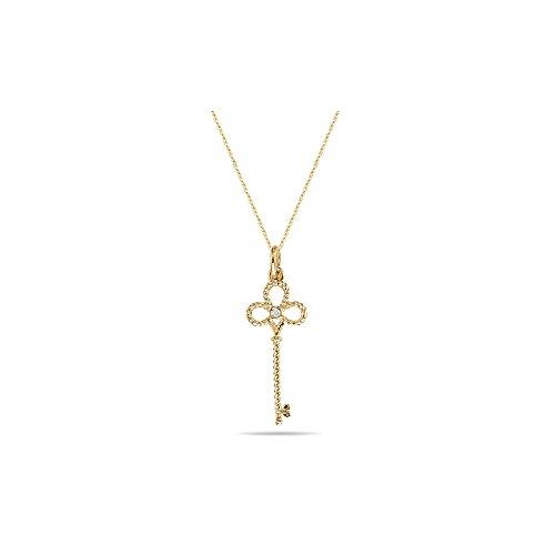 0.05-0.10 Cts SI2 - I1 clarity and I-J color Diamond Clover Key Pendant in 14K Yellow Gold (Cts Key Diamond Pendant)