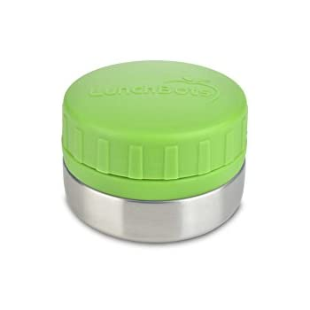 LunchBots Rounds Stainless Steel Food Container (4 oz) - Leak-Proof Food Jar for Snacks, Dips, Fruits and Finger Foods - Eco-Friendly, Dishwasher Safe and BPA-Free - Green