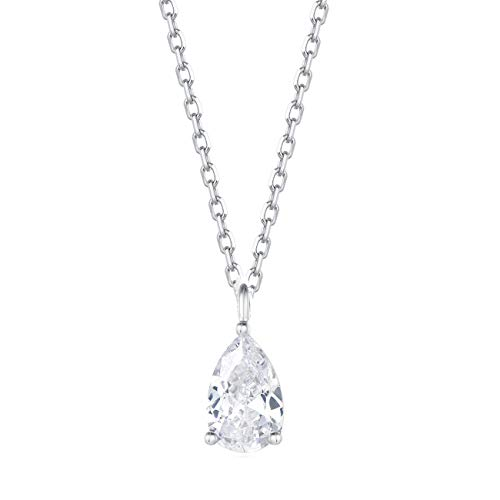 Carleen 18K White Gold Plated 925 Sterling Silver Pear Cut Solitaire CZ Cubic Zirconia Teardrop Shaped Dainty Pendant Necklace for Women Girls with 15.75