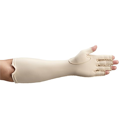 (Rolyan 081569177 Forearm Length Left Compression Glove, Open Finger Compression Sleeve to Control Edema and Swelling, Water Retention, and Vericose Veins, Covers Fingers to Forearm on Left Arm, Large )