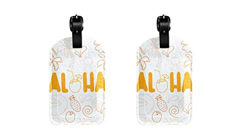 PU Leather Luggage Tags with Hand Drawn Aloha Print Name ID Labels for Travel Bag Baggage Suitcase with Back Privacy Cover 2 pack