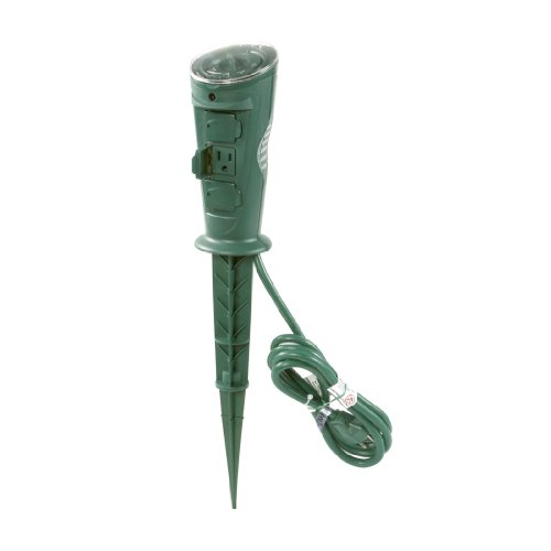 - AmerTac TM17DOLB Westek Outdoor Daily Mechanical 3-Outlet Grounded Self-Adjusting Photocell Stake Timer, Green