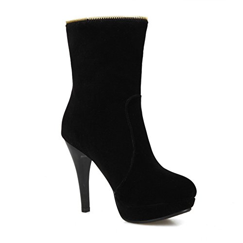 1TO9 Womens Boots Closed-Toe Zip High-Heels Warm Lining Water_Resistant Fabric Hard-Ground Fashion Urethane Boots MNS02093 Black cHWMr