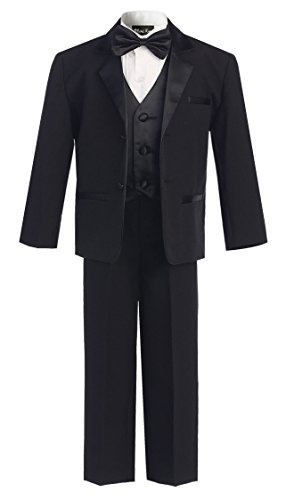 (OLIVIA KOO Boys Perfect Fit Classic Tuxedo Suit With No Tail Black Two Button 5)