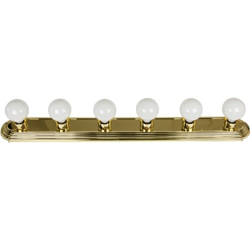 Sunlite 45250-SU Bathroom Vanity Light Fixture 36'' Globe Style Wall Fixture 6 Lights Polished Brass Finish by Sunlite