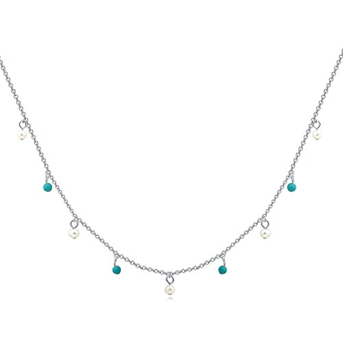 - YAN & LEI Sterling Silver Freshwater Cultured Pearl and Synthetic Turquoise Tin Cup Necklace Color Silver