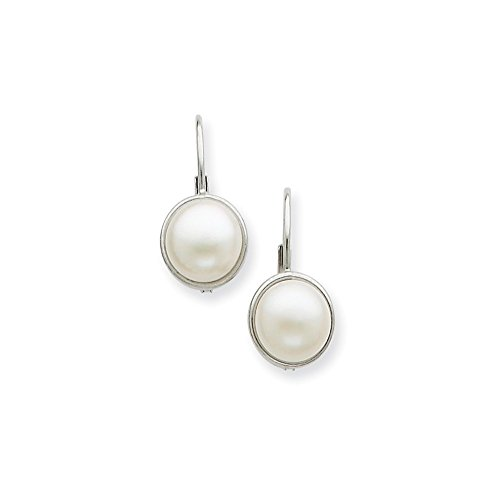 Genuine 14k White Gold 6-7mm FW Cultured Button Pearl Leverback Earrings 17 x8mm