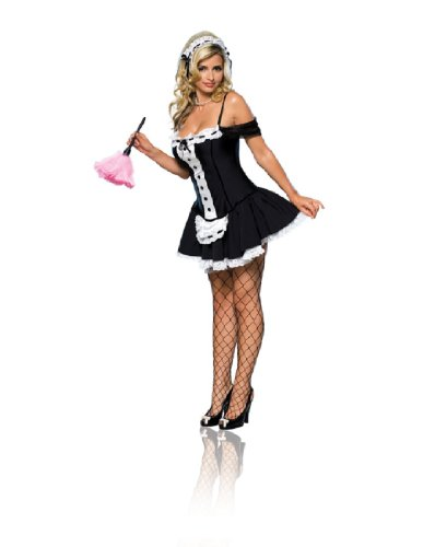 Secret Wishes Sexy Dust Bunny Maid Costume, Black, Medium (Womens Sexy French Maid Costume)