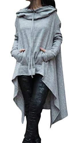 つらい姓成功Fly Year-JP Women's Casual Long Sleeve Asymmetric Hem Pullover Hooded Sweatshirt