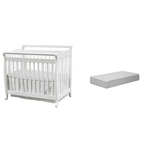 Emily 2-in-1 Mini Crib and Twin Bed with Complete Mini Mattress with Hypoallergenic Waterproof Cover by DaVinci