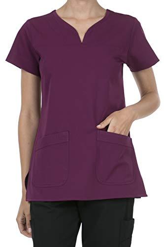 (8045 Women's Uniform Scrubs Medical 2 Pocket Scrub Top Wine 3XL )