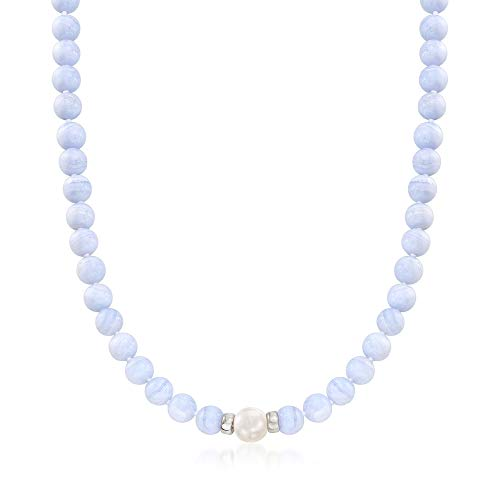 (Ross-Simons Blue Agate and Cultured Pearl Beaded Necklace in Sterling Silver)