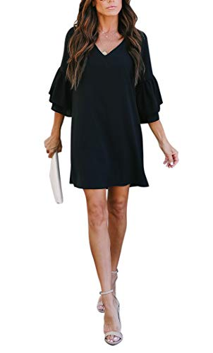 BELONGSCI Women's Dress Sweet & Cute V-Neck Bell Sleeve Shift Dress Mini Dress 2