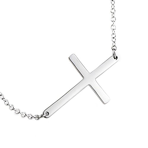 (POPLYKE Sideways Cross Necklace Sterling Silver Thin Cross Choker for Women Girls Kids Children 16