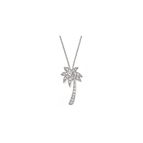 Sterling Forever 925 Sterling Silver CZ Palm Tree Pendant Necklace (18 inches)