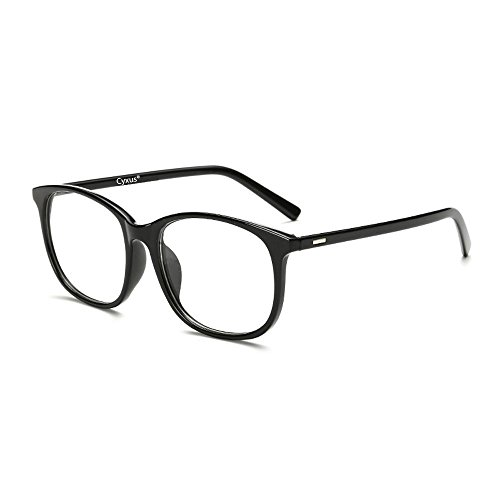 Cyxus Blue Light Filter Computer Glasses for Blocking UV Headache [Anti Eye Fatigue] Transparent Lens Unisex (Black) ()
