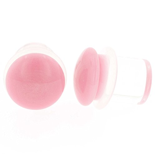 Pair of Glass Single Flared Color Front Plugs: 1g, Pink, Long - Plugs Color Pink