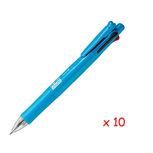 Zebra B4SA1 Clip-on multi F 0.7mm Multifunctional Pen (10pcs) - Light Blue (with Free 5-Color Sticky Notes)