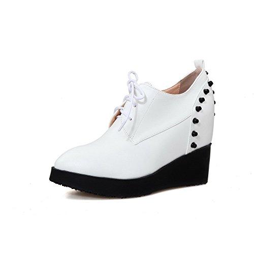 Bianco Delle Donne Sottolineato Weenfashion Lace Tacchi Pompe Alti Chiusa Solido Punta Up Ha shoes On5Aqxgq