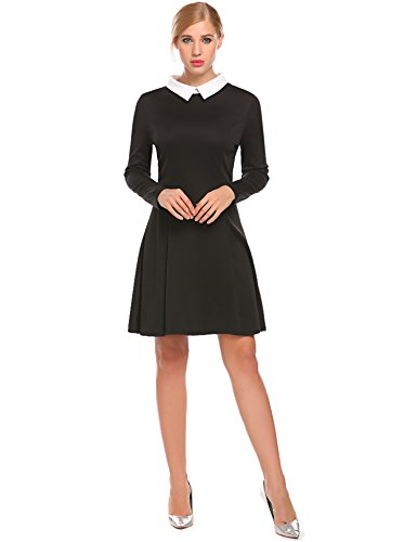 SimpleFun A Line for Women Peter Pan Collar Swing Dress (L, Black)