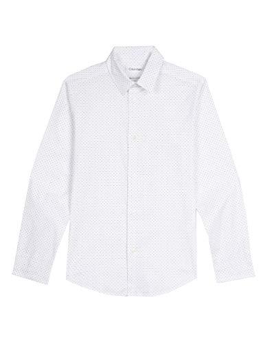 (Calvin Klein Big Boys' Long Sleeve Fashion Print Woven Shirt, Print White, 8)