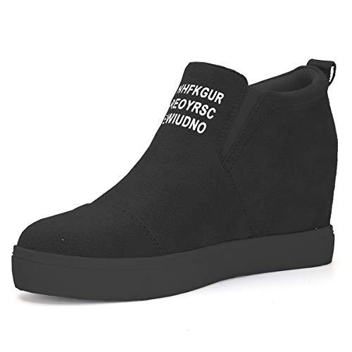 Athlefit Women's Hidden Wedge Sneakers High Heel Slip On Platform Loafers Size 5.5 Black