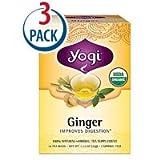 Yogi Organic Herbal Tea Caffeine Free Ginger -- 16 Tea Bags Each / Pack of 3
