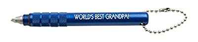 WORLD'S BEST GRANDPA! laser engraved - TruGroove Golf Club Groove Sharpener - Improved Backspin and Ball Control - Wedges and Irons - with 2 Free Color Matched Ball Markers - Lifetime Warranty - Made in USA