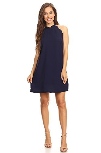 Express Womens Dresses (Via Jay Women's Solid Sleeveless Loose Casual Comfy A-Line Short Dress (Navy,)