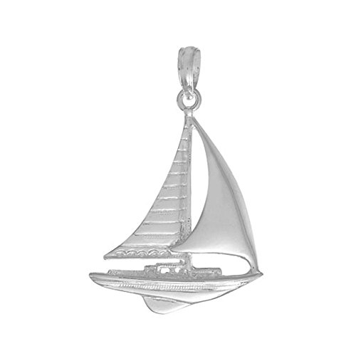 925 Sterling Silver Nautical Charm Pendant, Sailboat High Polish