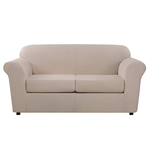 Sure Fit Ultimate Heavyweight Stretch Leather Slipcover (Pebbled Ivory, 2-Seat Box Cushion Loveseat) ()