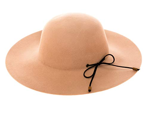 Fashion Wool Felt Wide Floppy Brim Hat with Faux Suede Back Bow & Wood Beads (Camel)