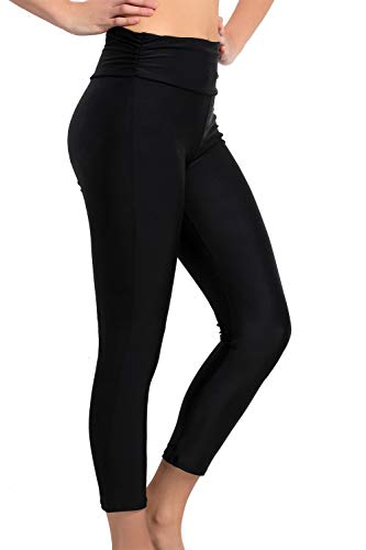 Women's Swim Pants High Waist Tummy Control Long Swimming Tights UPF 50+ Capris Built-in Liner Outdoor Sport Leggings (Black US 14) ()