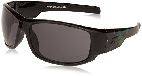 Edge Eyewear Safety Glasses (Edge Eyewear HZ116-A1 Caraz Apocalypse 1 Smoke Lens, Black & Green)
