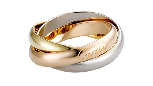 Cartier Style Trinity Tricolor 18k Yellow Gold Rose Gold White Gold Ring Engagement Wedding Women Bridal Love Anniversary Jewelry All US Size Available
