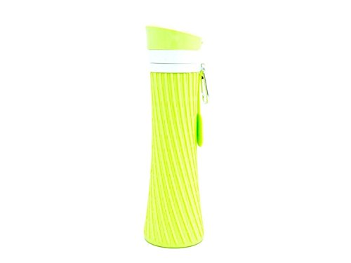 Yunqir Flexible 500ml Folable Water Bottles Collapsible Flexible Reuable Water Bottle for Hiking Adventures Traveling (Green) by Yunqir