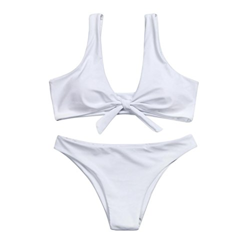 Women Bow Knotted Padded Up Bra & Thong Bikini Set Simple Fashion Mid Waisted Scoop Swimsuit (M, White)