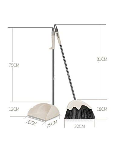Upright Standing Stainless Steel Dustpan and Broom Home and Office Sweep Combo Good Grip Sweeper (Cream)