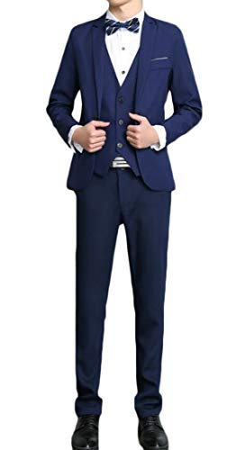Domple Men's Buttons Vest Three Pieces Office Blazer with Pants Outfit Set Dark Blue 3XL by Domple (Image #2)