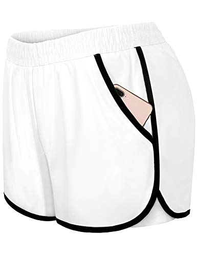 Blevonh Womens Cozy Banded Waist Running Fitness Workout Shorts with Pockets S-XXXL