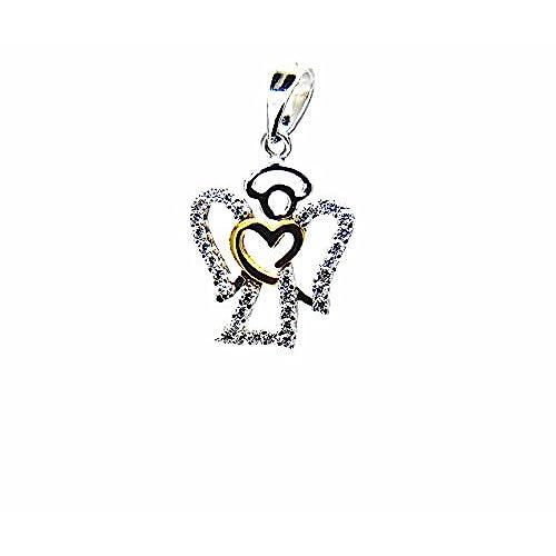 3ea7380a456a Pegaso joyas – colgante oro blanco y amarillo 18 kt ángel con corazón y  circonitas –
